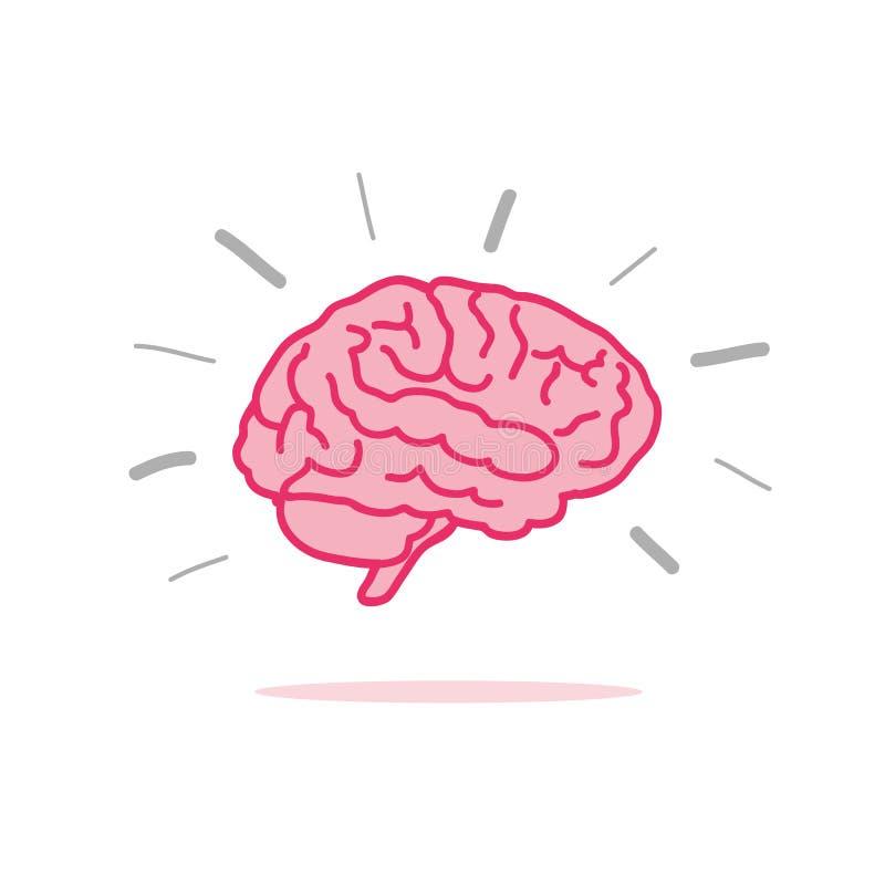 Icône rose de cerveau d'échange d'idées illustration de vecteur