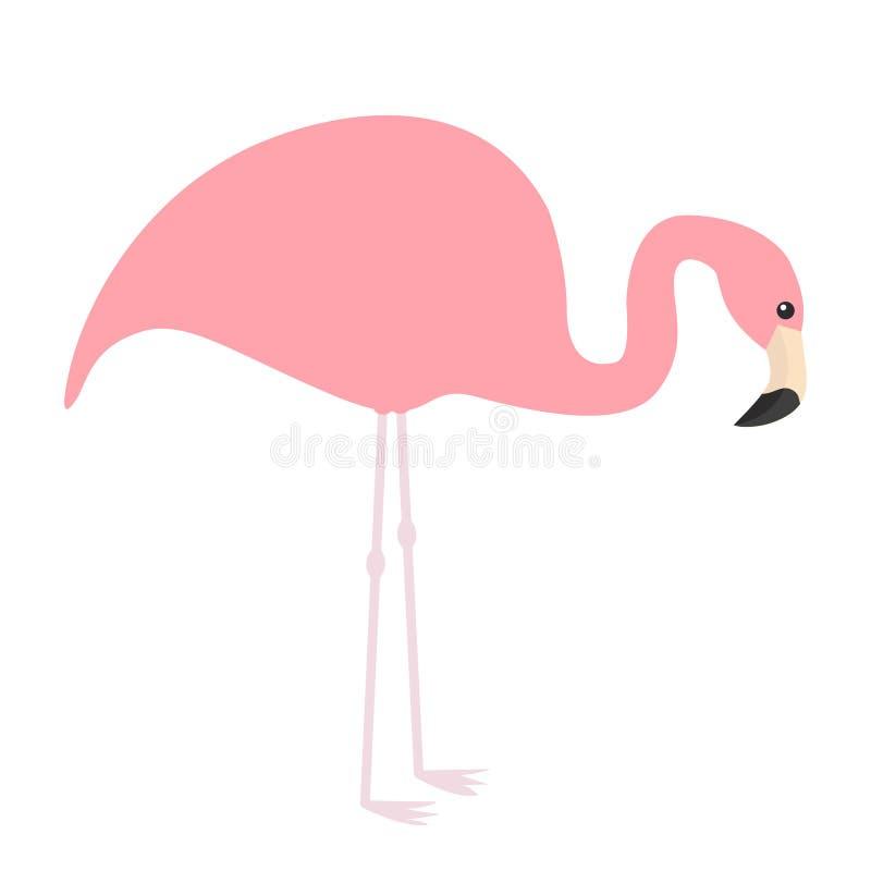 Icône rose de flamant Oiseau tropical exotique Collection d'animal de zoo Personnage de dessin animé mignon Regard vers le bas au illustration de vecteur