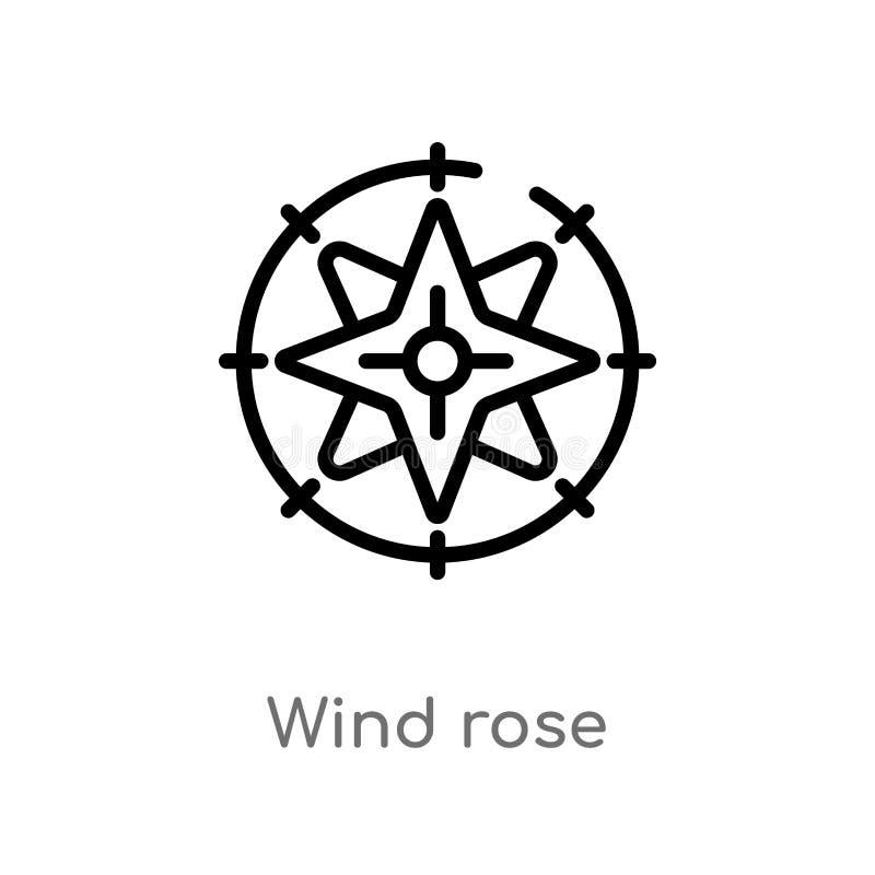 icône rose de vecteur de vent d'ensemble ligne simple noire d'isolement illustration d'élément de concept nautique vent editable  illustration libre de droits