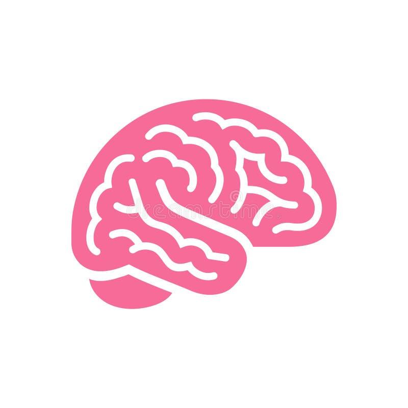 Icône rose de vue de côté de couleur de cerveau, symbole d'intellect illustration stock