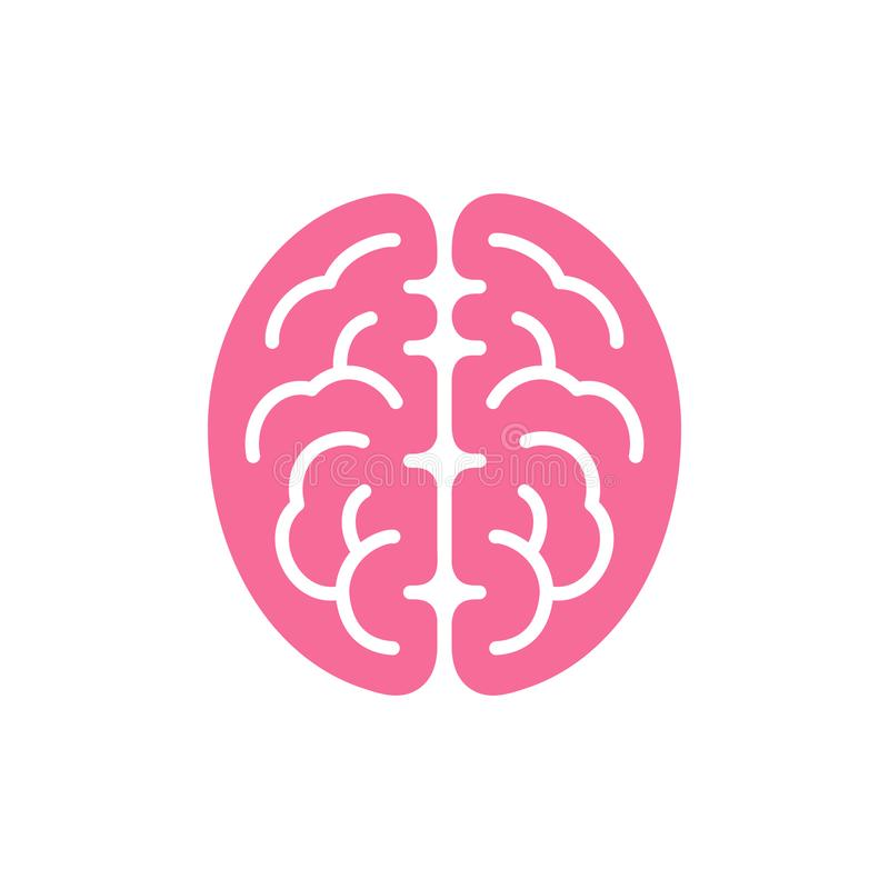 Icône rose de vue supérieure de couleur de cerveau, illustration de vecteur de symbole d'intellect illustration libre de droits