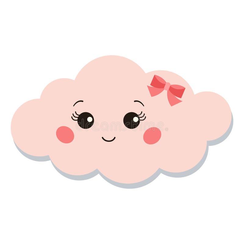 Icône rose douce et mignonne de nuage de fille d'isolement sur le fond blanc illustration stock