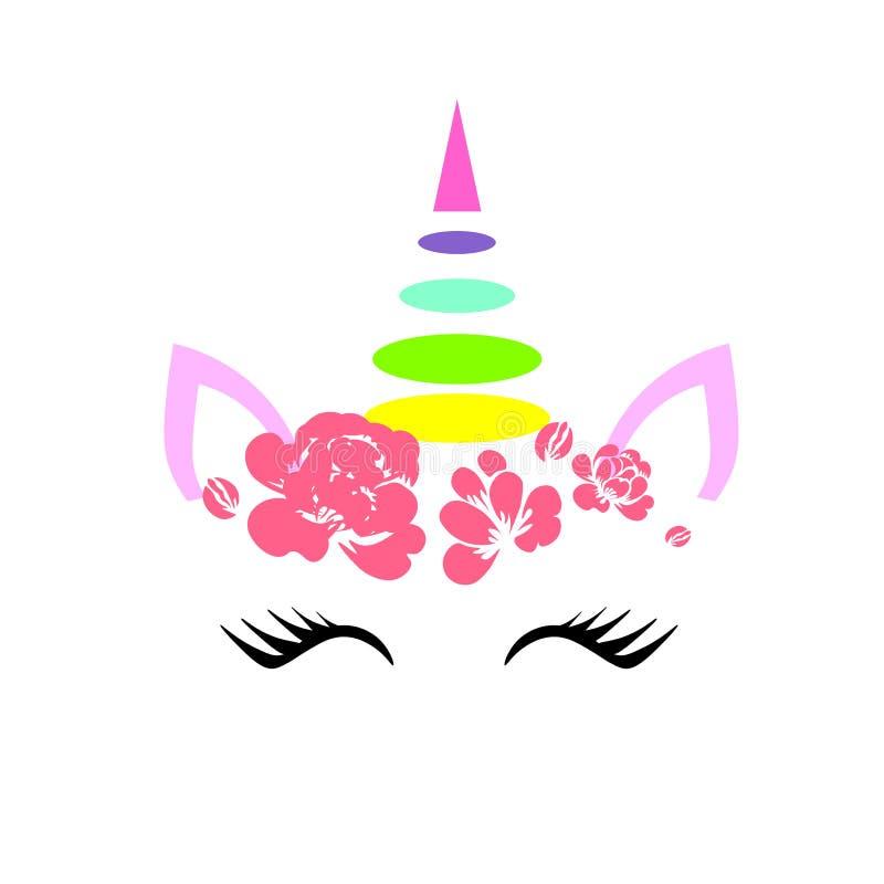 Icône rose plate de visage de licorne de vecteur de Web avec des fleurs et icône fermée de yeux d'isolement sur le fond blanc illustration stock