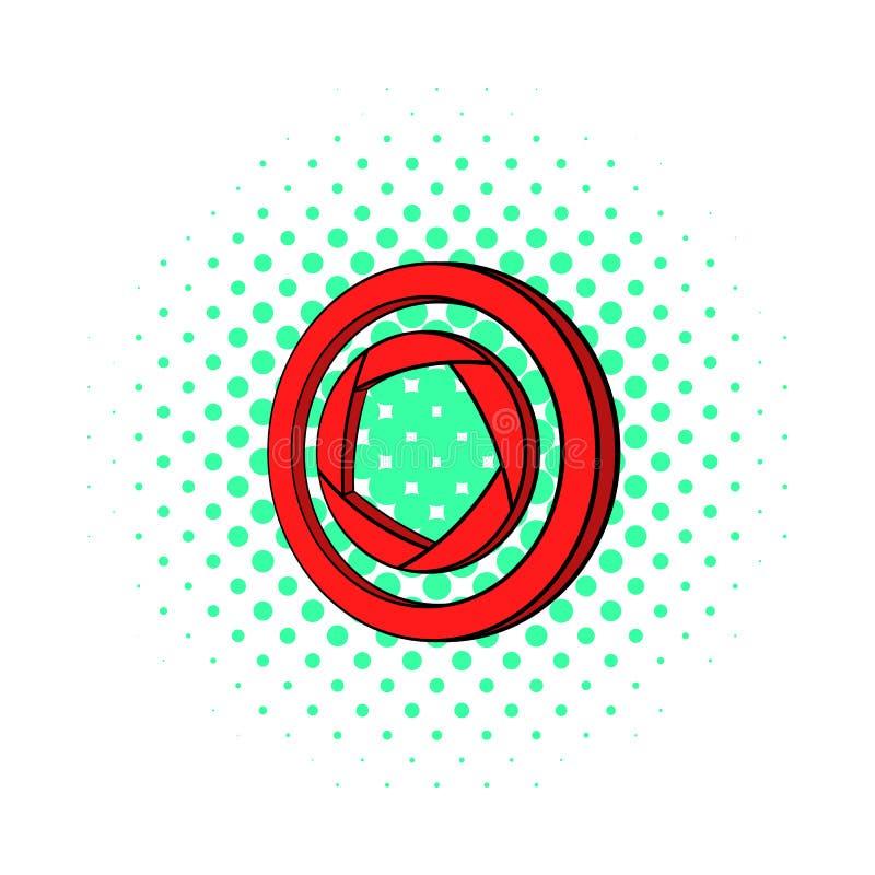 Icône rouge d'appareil-photo, style de bandes dessinées illustration stock