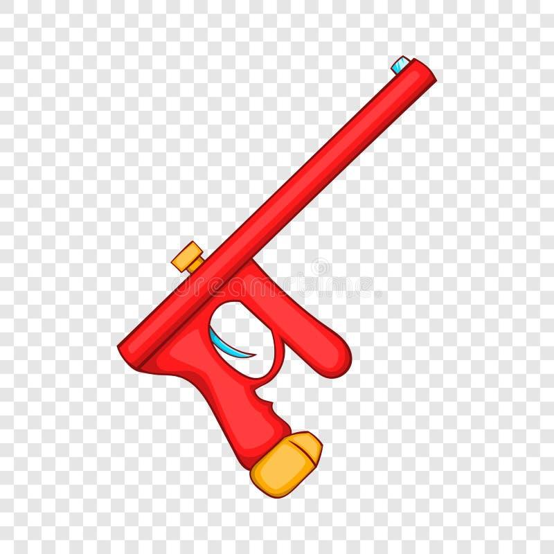 Icône rouge d'arme à feu de paintball, style de bande dessinée illustration de vecteur