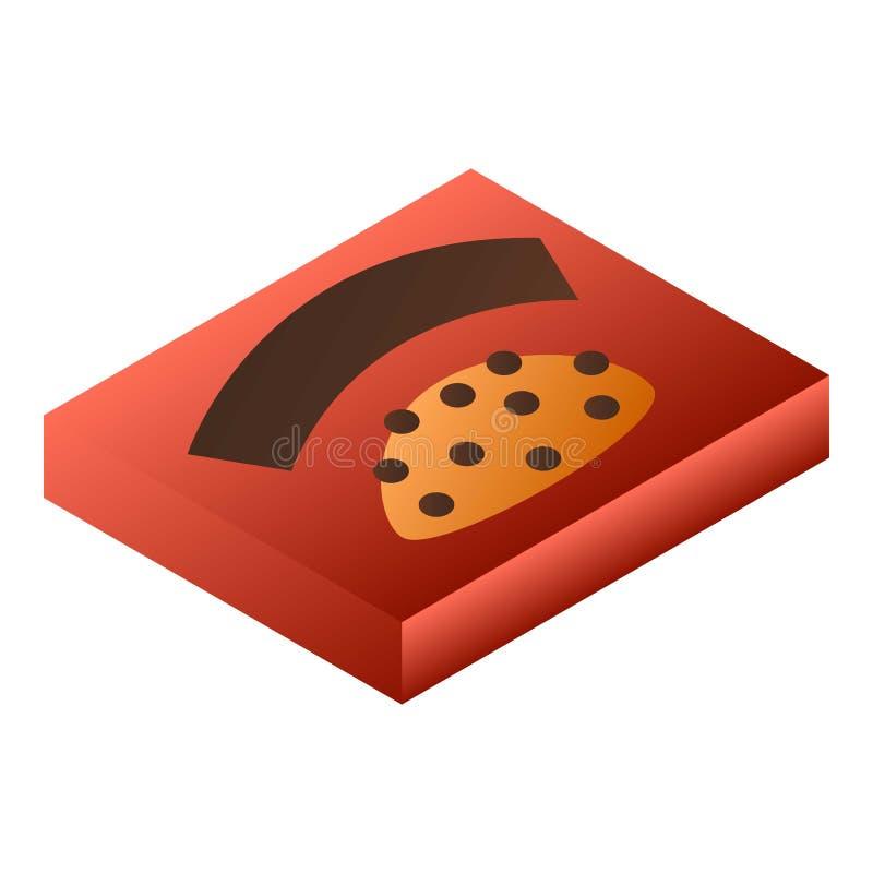 Icône rouge de boîte à chocolat, style isométrique illustration libre de droits
