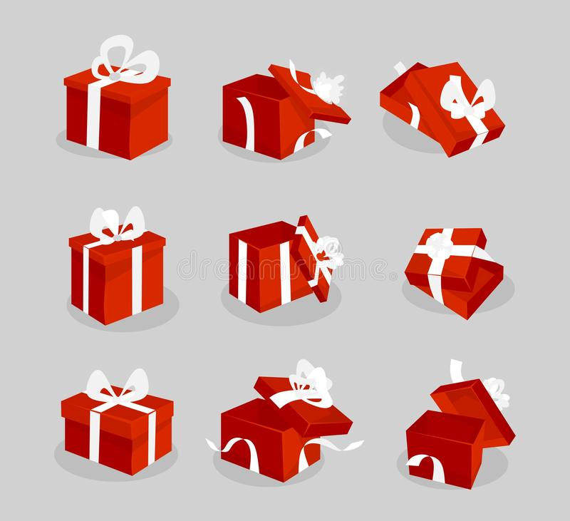 Icône rouge de boîte-cadeau réglée pour le Web, les jeux, les cartes de Noël etc. Boîte-cadeau rouges de bande dessinée avec les  illustration stock