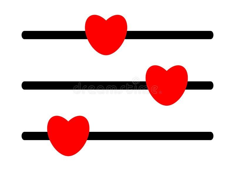 Icône rouge de bouton de coeur d'ajustement sur le fond blanc illustration de vecteur