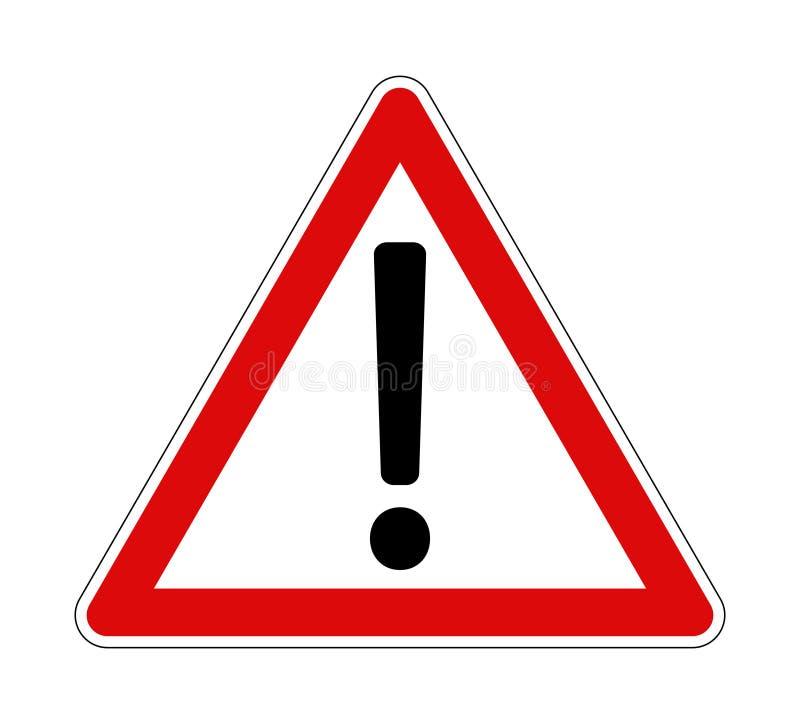 Icône rouge de cadre de panneau d'avertissement de marque d'exclamation illustration libre de droits