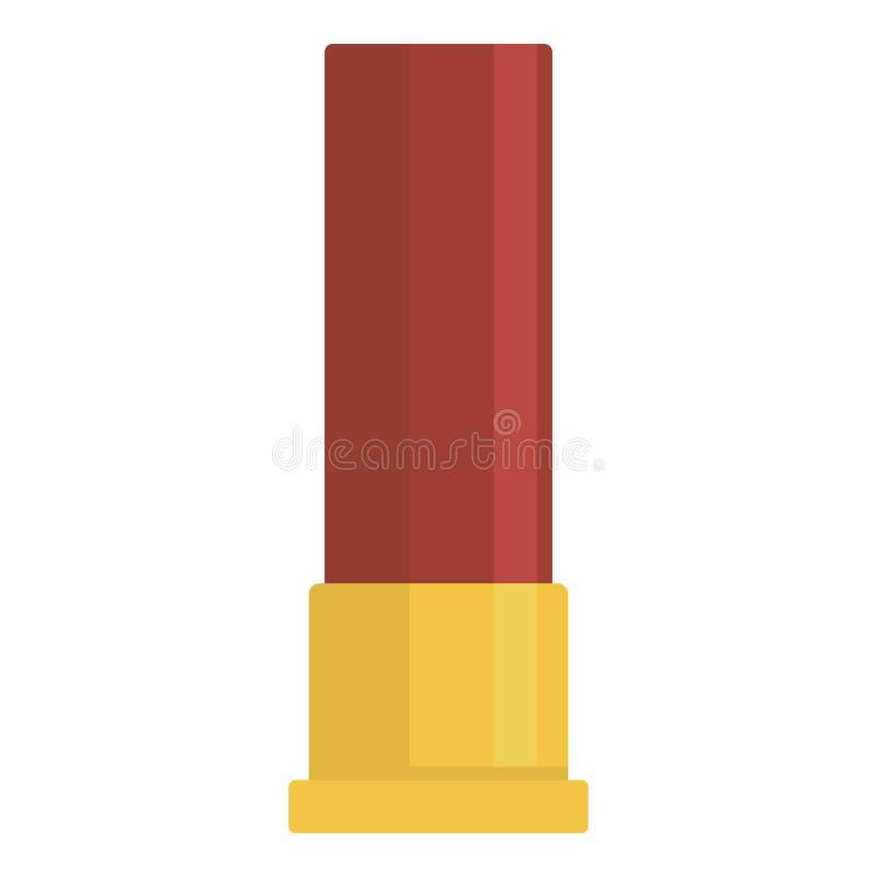 Icône rouge de cartouche de munitions, style plat illustration stock