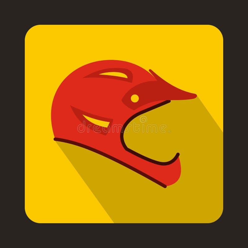 Icône rouge de casque de bicyclette, style plat illustration stock