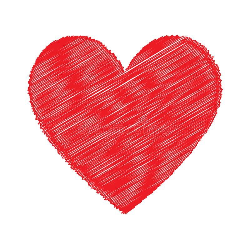 Icône rouge de coeur, amour, valentine rouge dessinant au-dessus du blanc illustration libre de droits