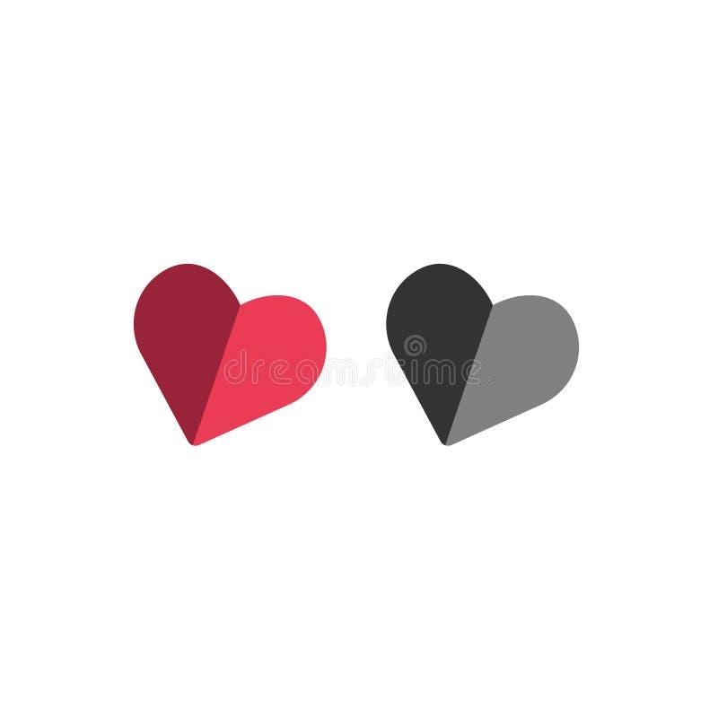 icône rouge de coeur d'amour d'isolement sur le fond blanc illustration stock