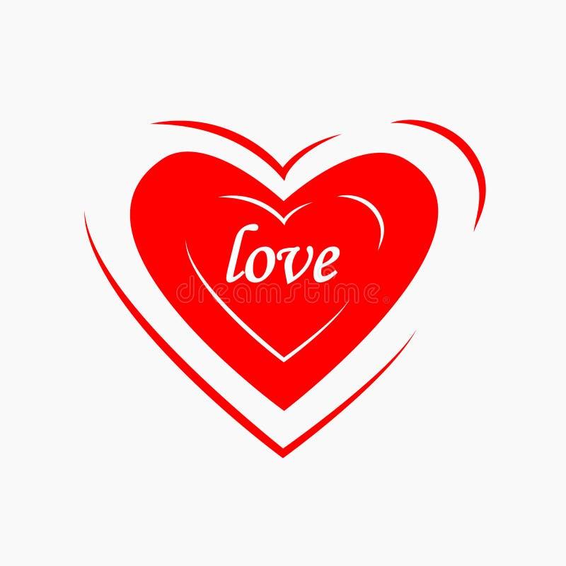 Icône rouge de coeur d'isolement sur le fond Amour de passion, concept de santé Symbole de Saint Valentin Élément simple Concepti illustration de vecteur