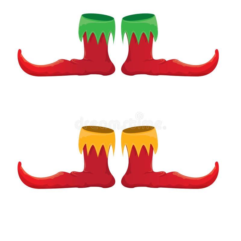 Icône rouge de collection de chaussures d'elfe de Noël de bande dessinée de vecteur d'isolement sur le fond transparent bande des illustration de vecteur