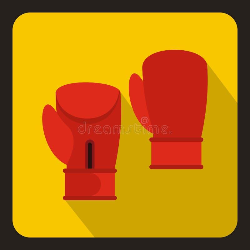 Icône rouge de gants de boxe, style plat illustration de vecteur