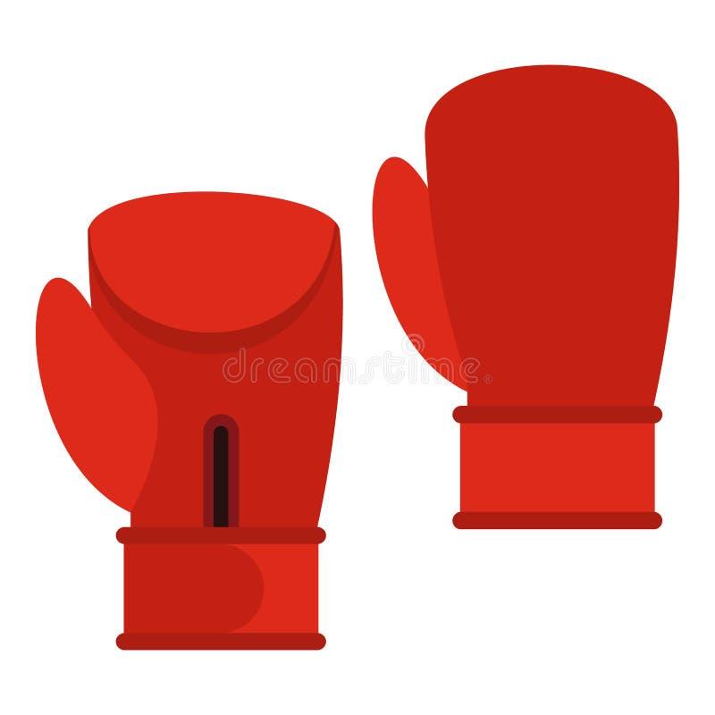 Icône rouge de gants de boxe, style plat illustration libre de droits