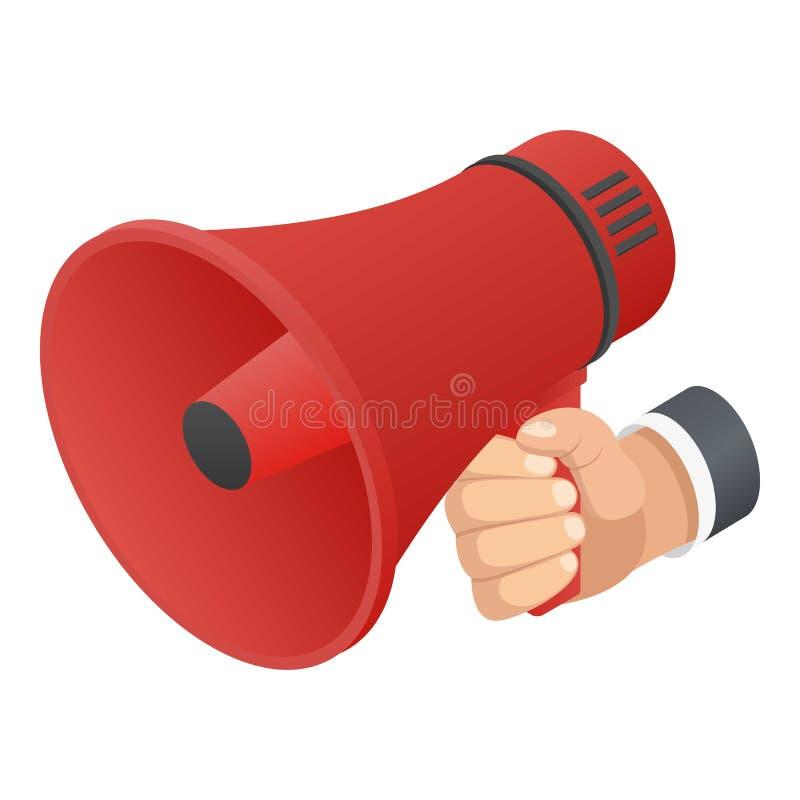 Icône rouge de haut-parleur de main, style isométrique illustration de vecteur