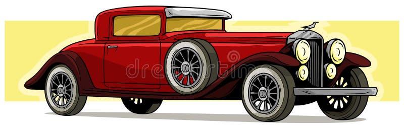 Icône rouge de luxe de vecteur de voiture de rétro cru de bande dessinée illustration libre de droits