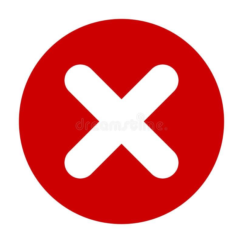 Icône rouge de mark plat du rond X, bouton Symbole crois? d'isolement sur le fond blanc illustration de vecteur