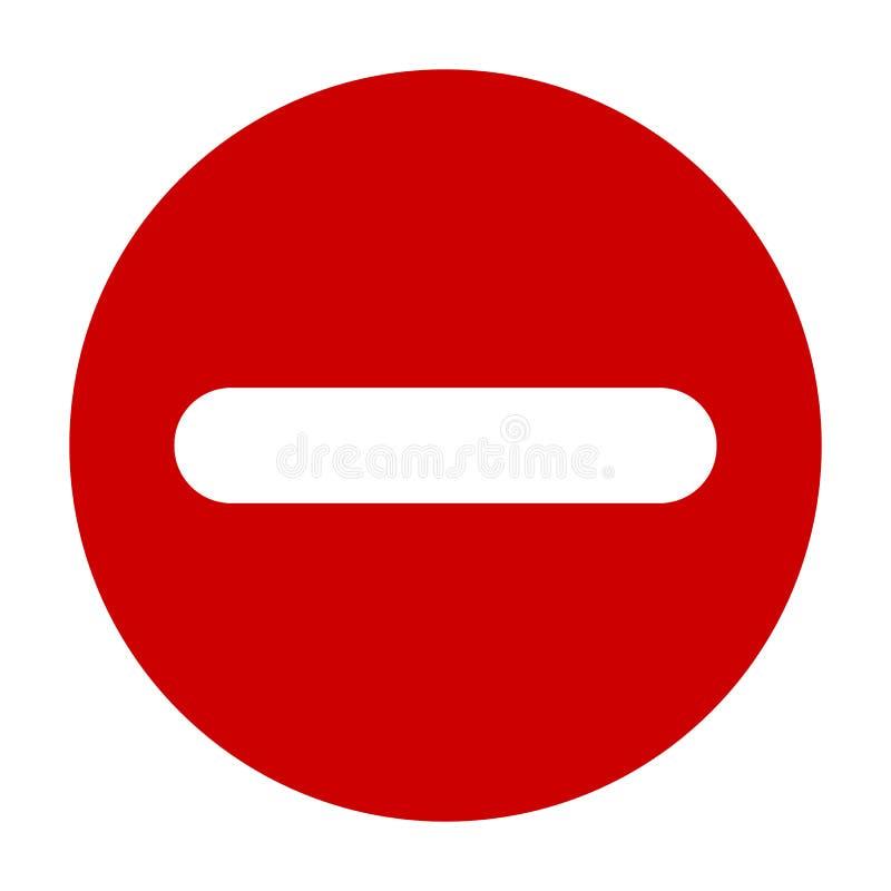 Icône rouge de signe moins rond plat, bouton Symbole négatif d'isolement sur le fond blanc illustration de vecteur