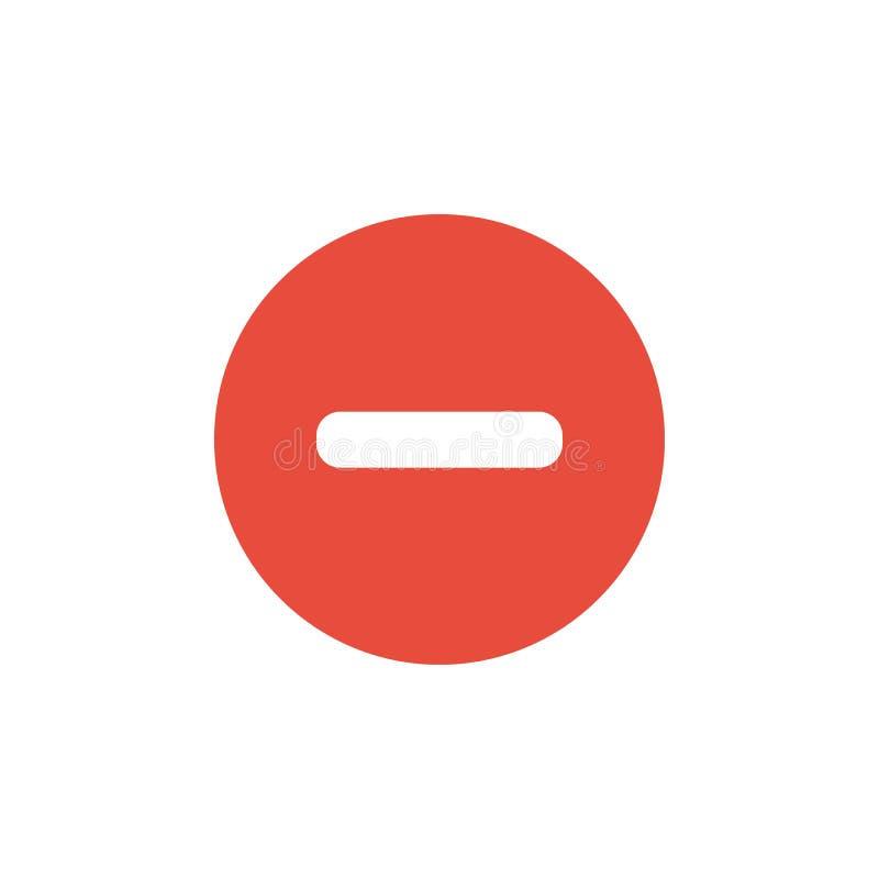 Icône rouge de signe moins rond plat, vecteur de bouton illustration libre de droits