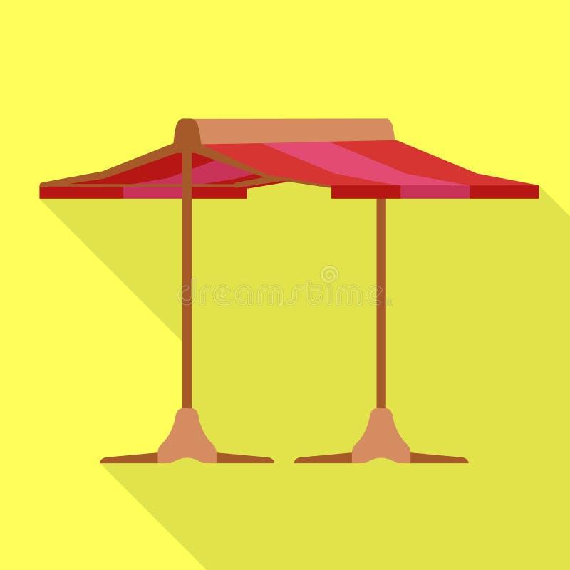 Icône rouge de tente, style plat illustration stock