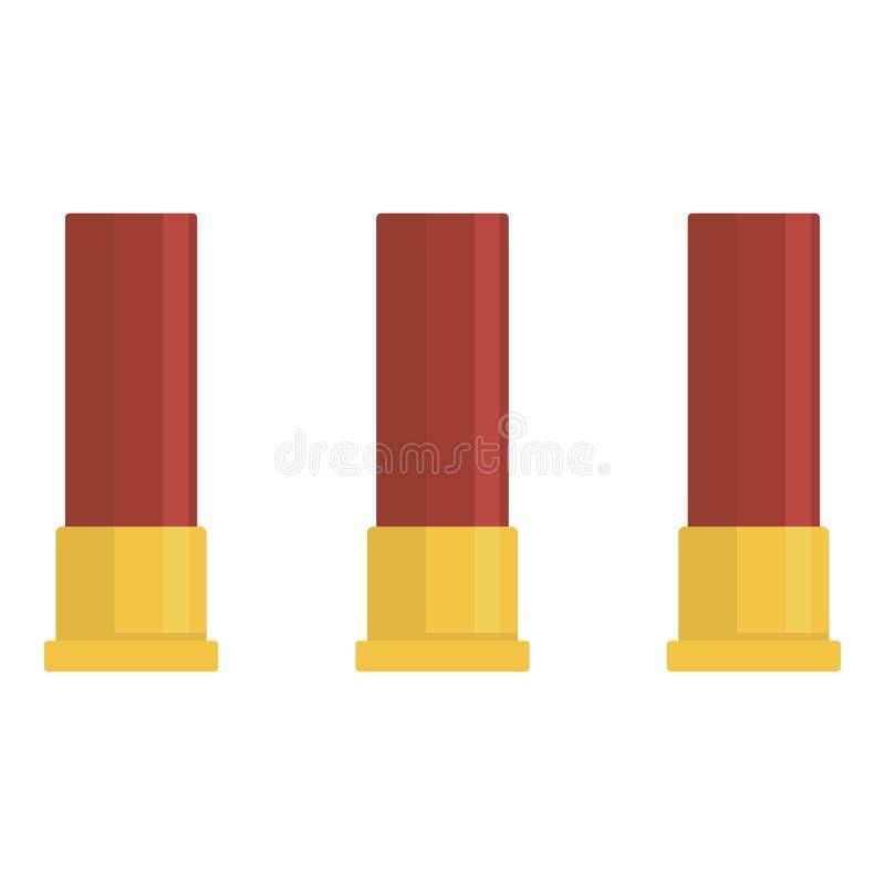 Icône rouge de trois cartouches, style plat illustration libre de droits