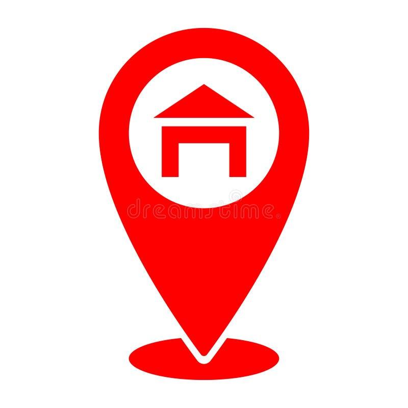 Icône rouge ici et emplacement à la maison de geo de généralistes, navigation Icône de goupille d'indicateur de carte Illustratio illustration libre de droits
