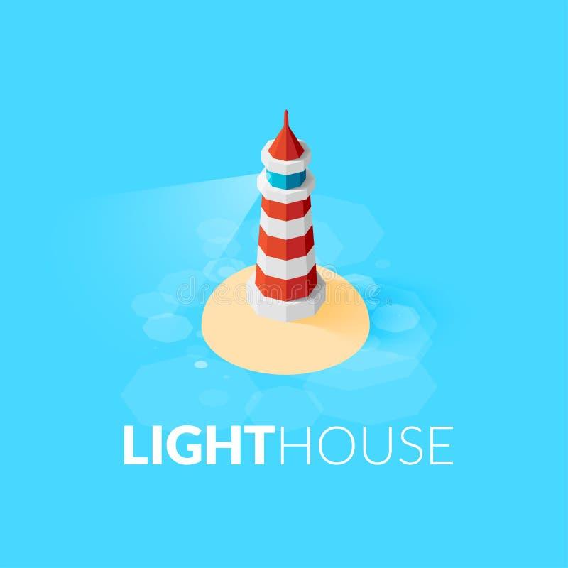 Icône rouge isométrique plate de phare sur la mer bleue illustration de vecteur