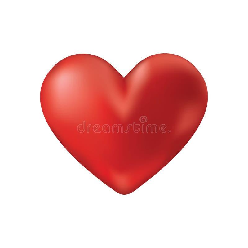 Icône rouge réaliste de coeur de vecteur images libres de droits