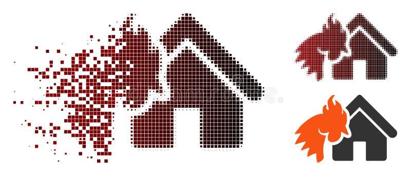 Icône rouge tramée pointillée de désintégration de catastrophe d'objet immobilier de coq illustration de vecteur