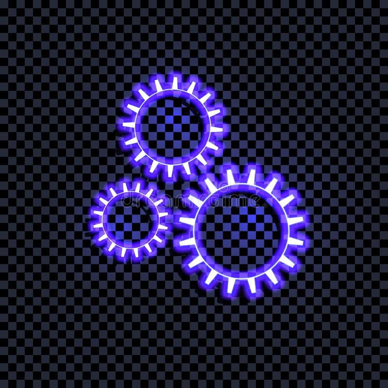 Icône rougeoyante bleue lumineuse de vitesses de vecteur d'isolement sur le fond transparent foncé, signe de Coorful avec l'ombre illustration stock