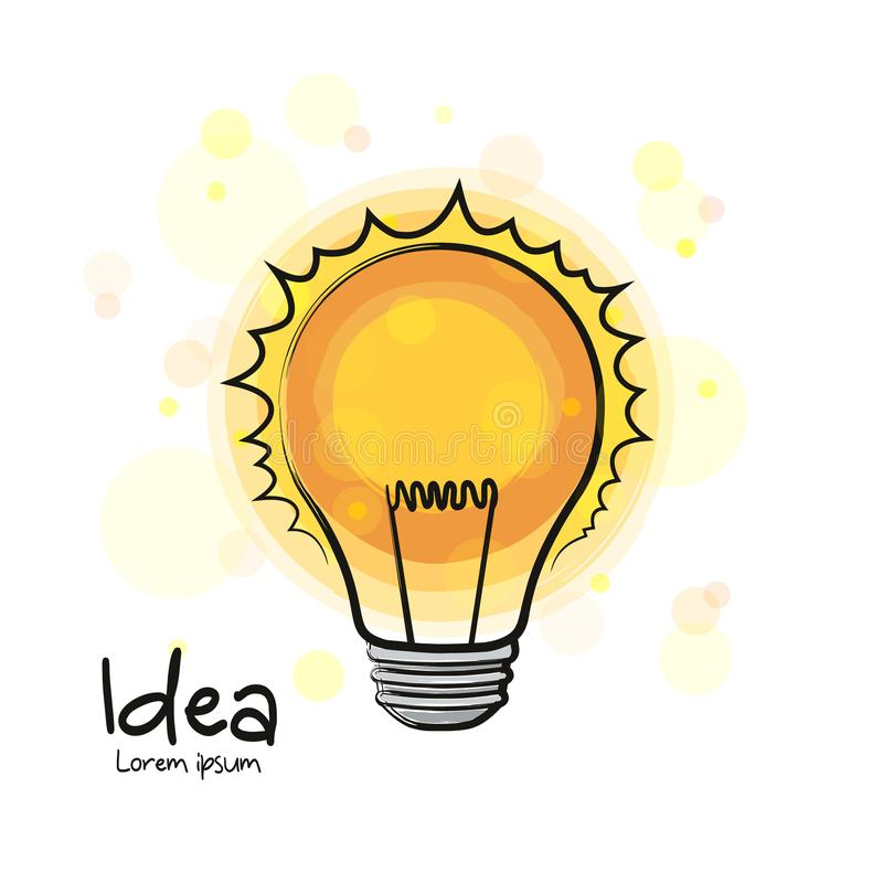 Icône rougeoyante d'ampoule Signe tiré par la main Idée et innovation créatives Vecteur illustration de vecteur