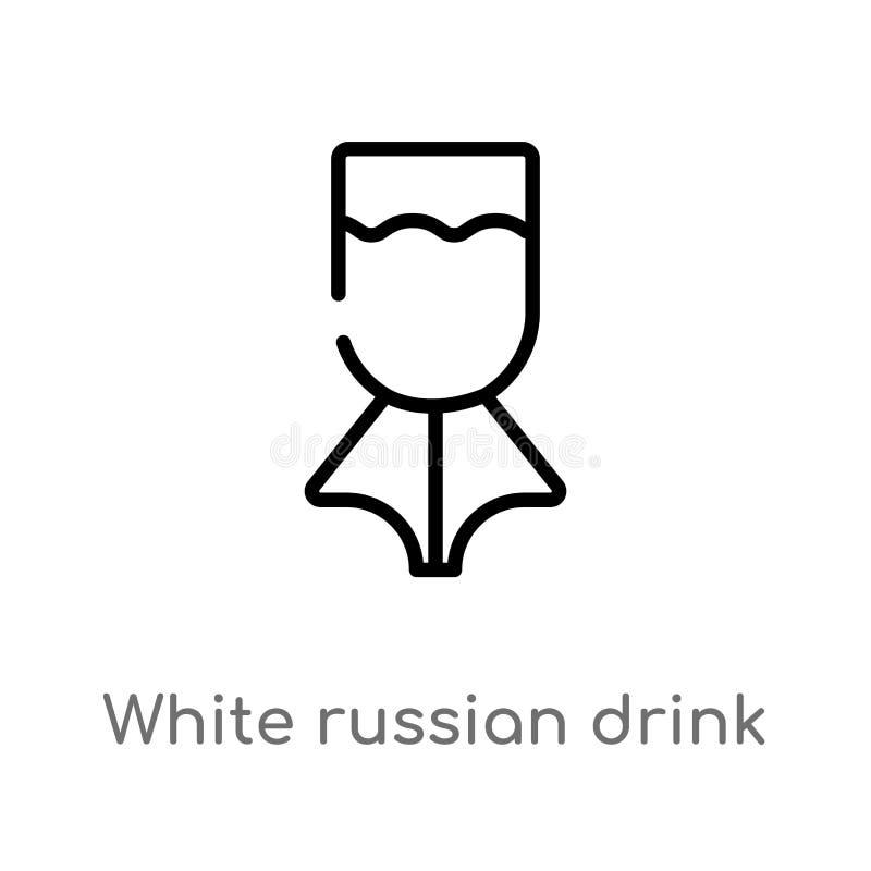 icône russe blanche de vecteur de boissons d'ensemble ligne simple noire d'isolement illustration d'élément de concept de boisson illustration libre de droits