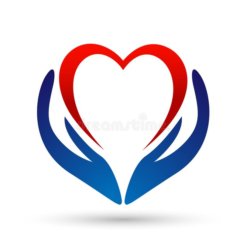 Icône saine de conception de logo de soins à vie de santé de coeur de soin de personnes médicales de clinique sur le fond blanc illustration libre de droits