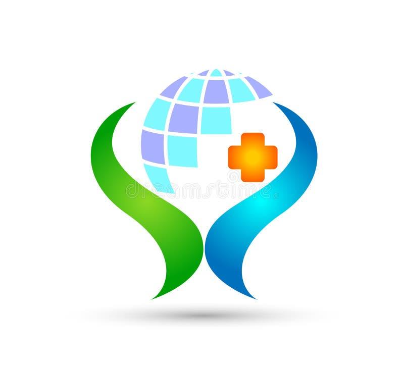 Icône saine de conception de logo de soins à vie de soins de santé de personnes croisées médicales de globe sur le fond blanc Enf illustration libre de droits