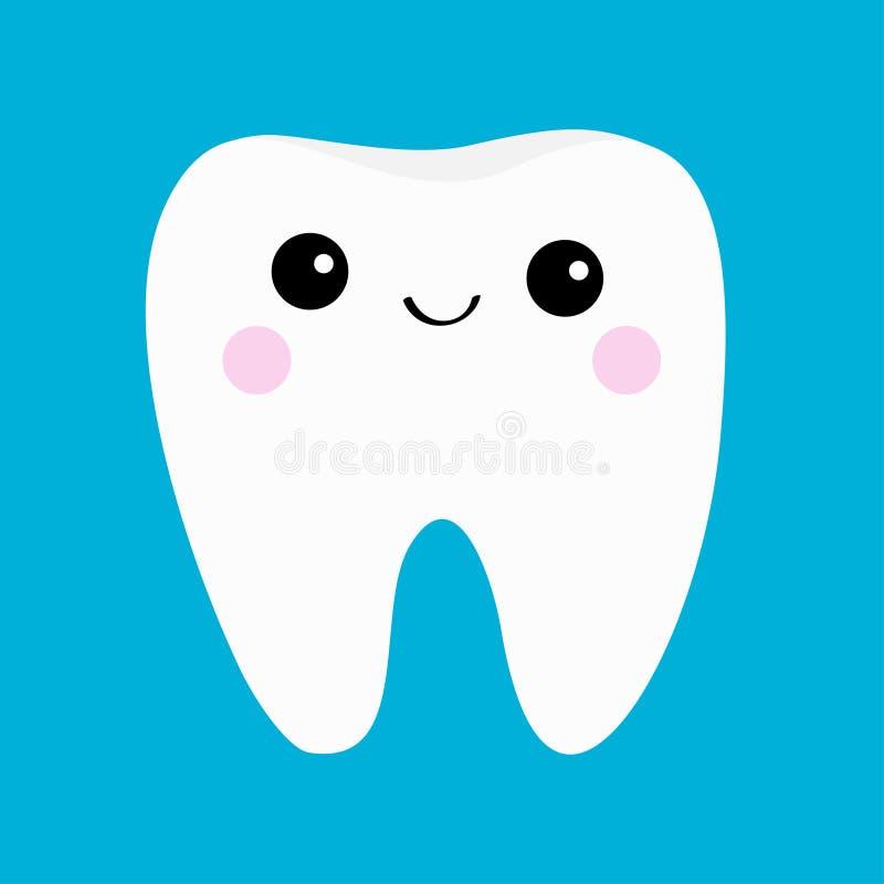 Icône saine de dent Visage principal de sourire Hygiène dentaire orale Soin de dents d'enfants Personnage de dessin animé mignon  illustration de vecteur