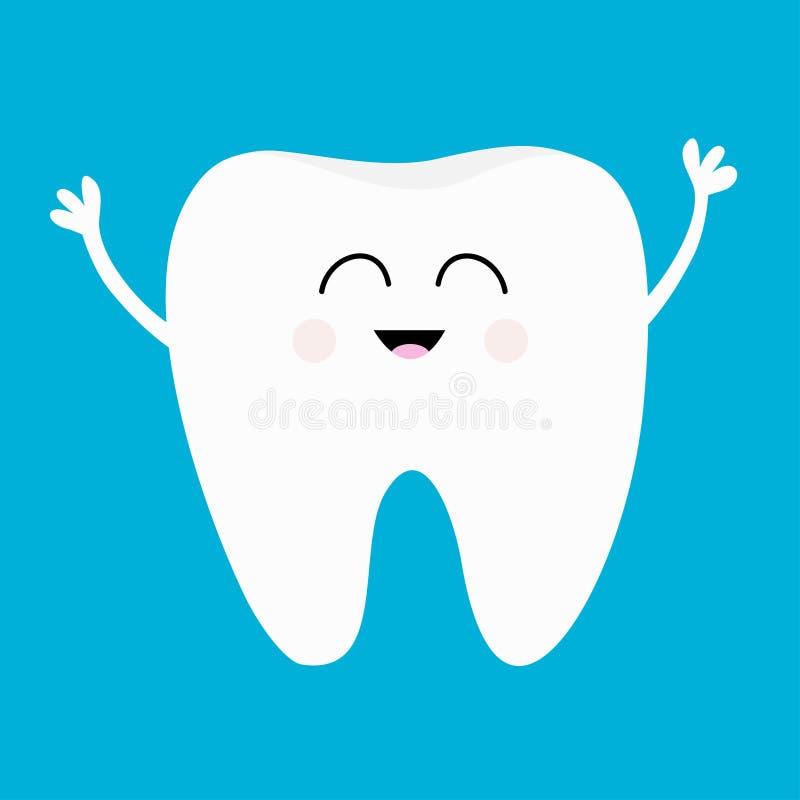 Icône saine de dent Visage principal de sourire Hygiène dentaire orale Soin de dents d'enfants Personnage de dessin animé mignon  illustration libre de droits