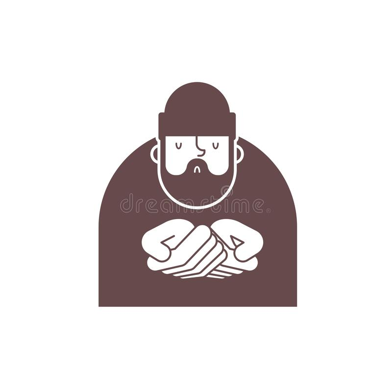 Icône sans abri Signe de mendiants Symbole pauvre illust sans valeur de vecteur de clochard illustration stock