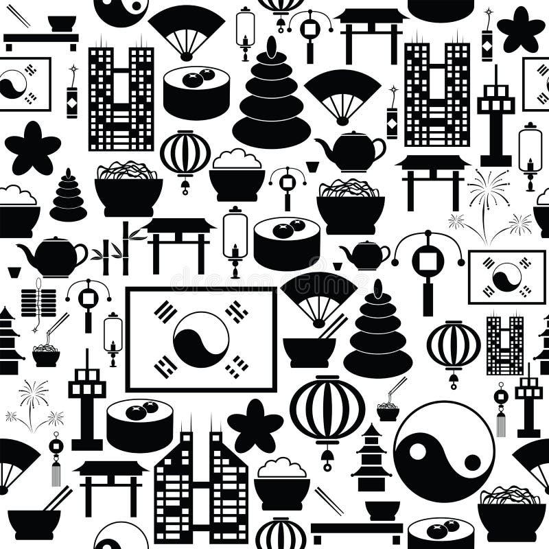 Icône sans couture de fond de modèle de la Corée illustration de vecteur
