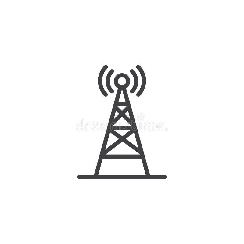 Icône sans fil d'ensemble d'antenne par radio illustration libre de droits