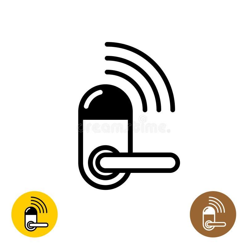Icône sans fil de serrure de porte Symbole à la maison futé de porte illustration libre de droits