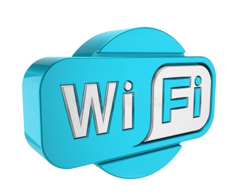 Icône sans fil de wifi d'isolement sur le fond blanc Signe de Wifi Symbole de Wifi l'illustration 3d rendent illustration stock
