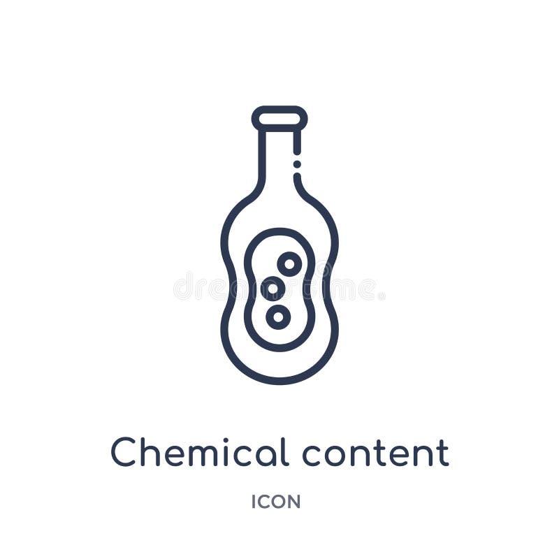 Icône satisfaite chimique linéaire de collection d'ensemble d'éducation Ligne mince icône satisfaite chimique d'isolement sur le  illustration stock