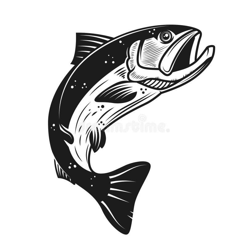 Icône saumonée d'isolement sur le fond blanc Concevez l'élément pour le logo, label, emblème, signe, bannière, affiche illustration libre de droits