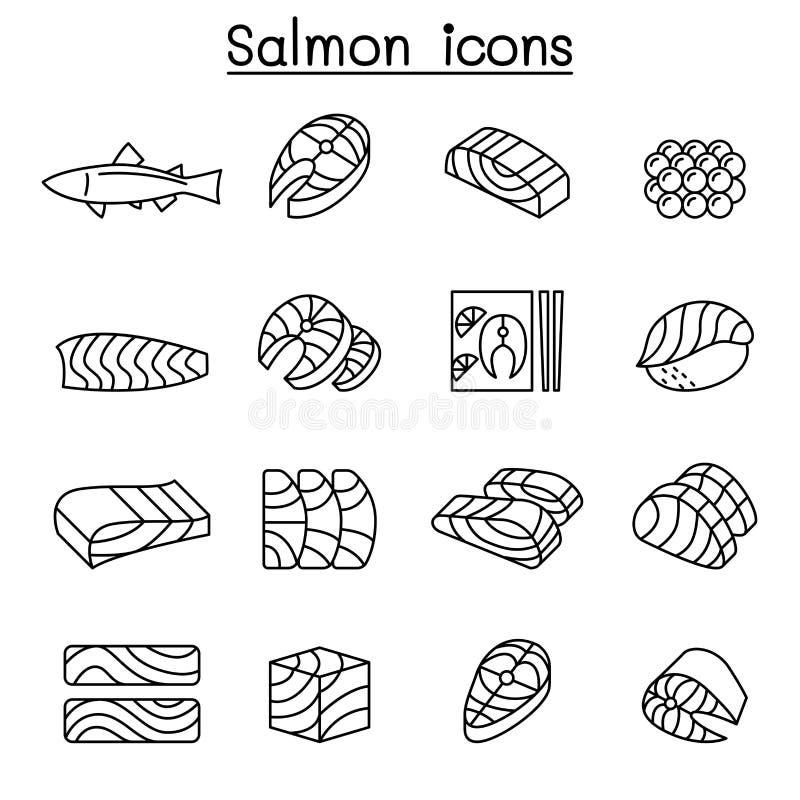 Icône saumonée fraîche de poissons réglée dans la ligne style mince illustration de vecteur