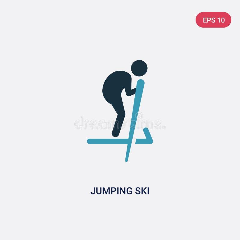 Icône sautante de vecteur de ski de deux couleurs de concept de sports le symbole sautant bleu d'isolement de signe de vecteur de illustration stock
