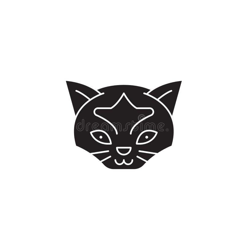 Icône sauvage de concept de vecteur de noir de tête de chat Illustration plate de tête sauvage de chat, signe illustration libre de droits