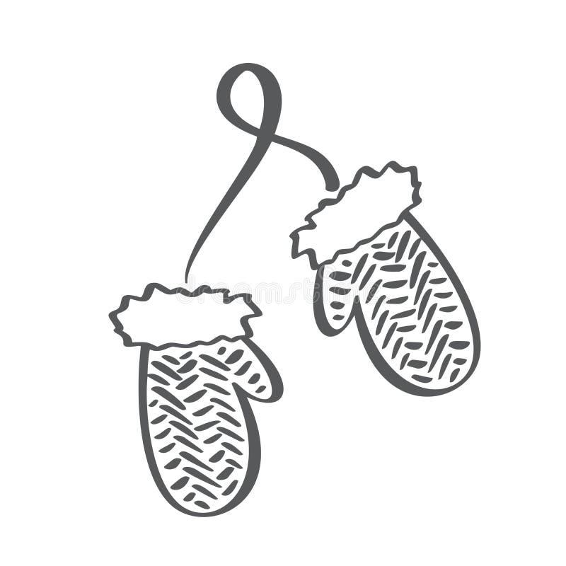 Icône scandinave de vecteur de mitaines de découpe d'hiver Illustration au trait brosse Gants d'enfants Symbole de découpe Vecteu illustration libre de droits
